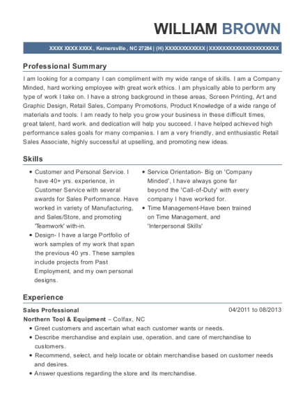 Sales Professional resume format North Carolina