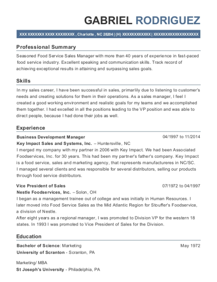 Business Development Manager resume sample North Carolina