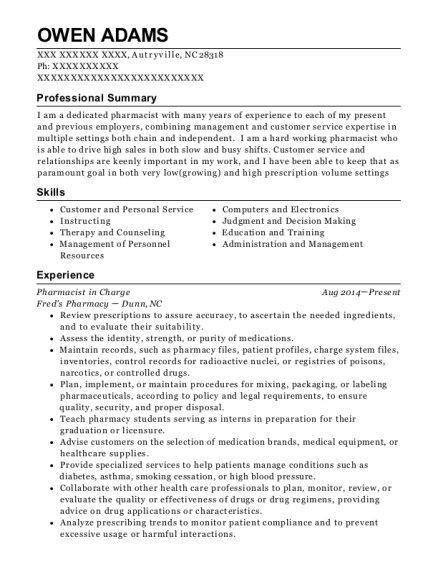 Pharmacist in Charge resume example North Carolina
