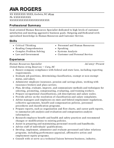 Human Resources Specialist resume format North Carolina
