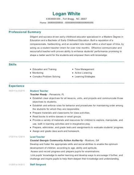 Student Teacher resume template North Carolina