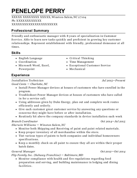 Installation Technician resume format North Carolina