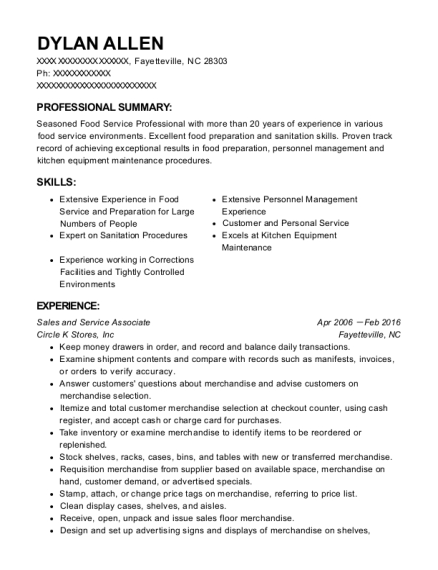 Sales and Service Associate resume template North Carolina
