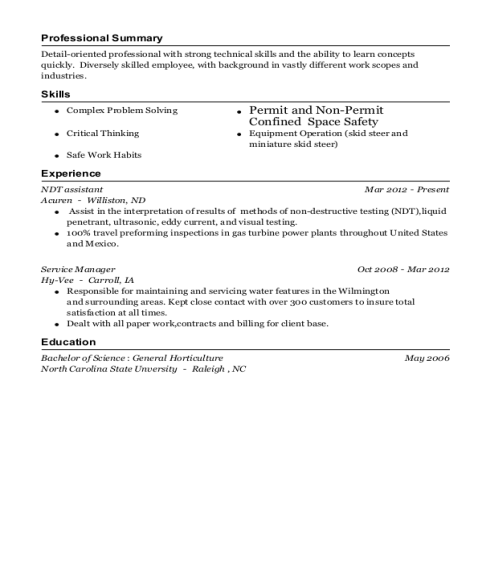NDT assistant resume sample North Carolina