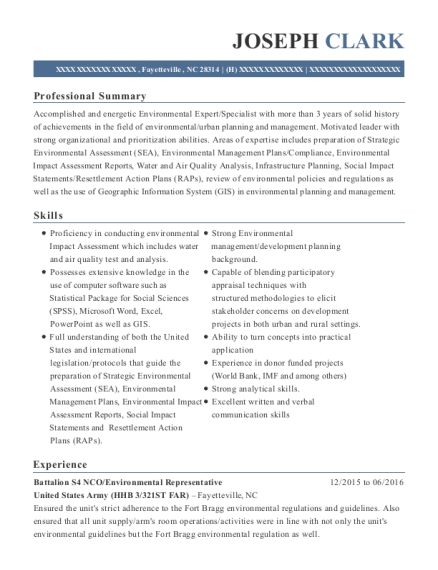 Battalion S4 NCO resume template North Carolina