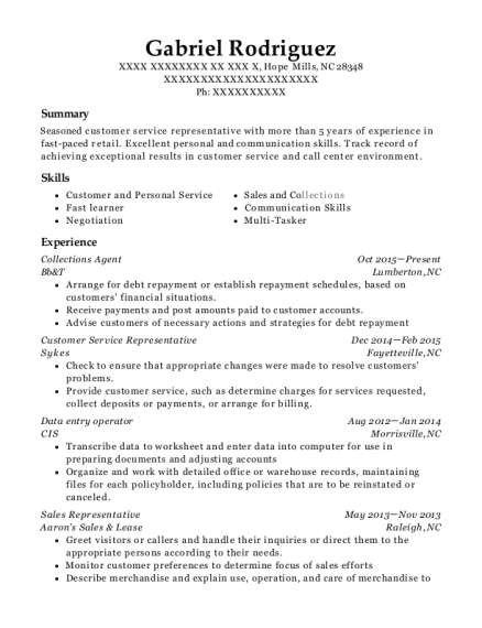 Collections Agent resume format North Carolina