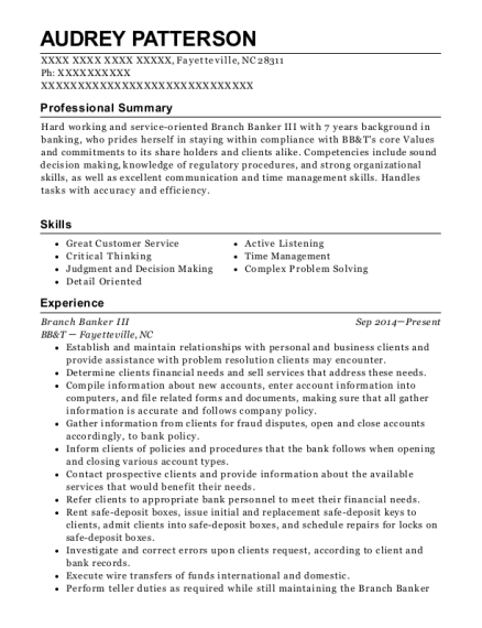 Branch Banker III resume example North Carolina