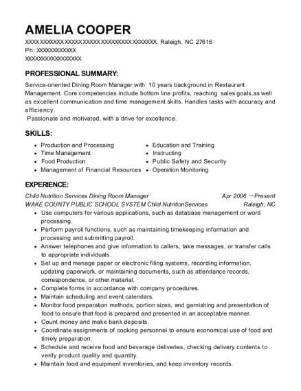 Child Nutrition Services Dining Room Manager resume example North Carolina