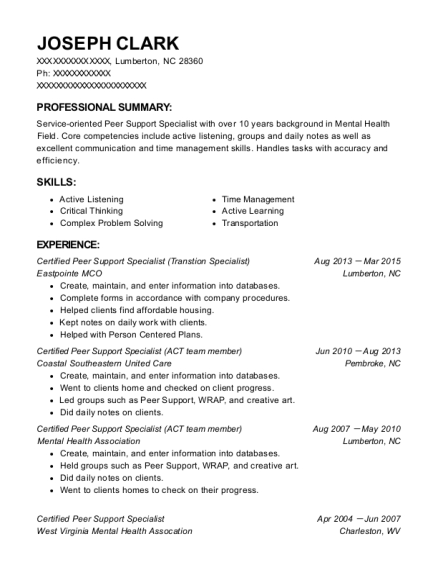 Certified Peer Support Specialist resume example North Carolina