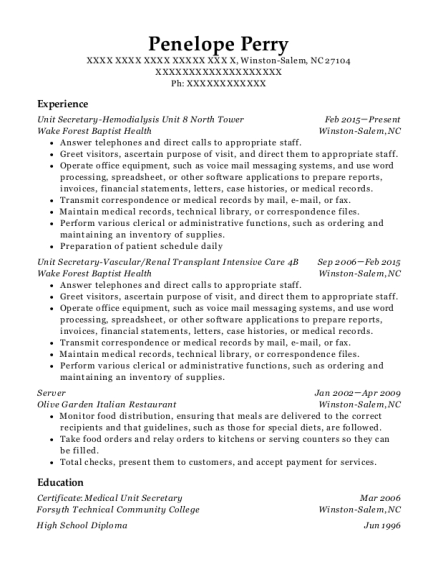 Unit Secretary Hemodialysis Unit 8 North Tower resume example North Carolina