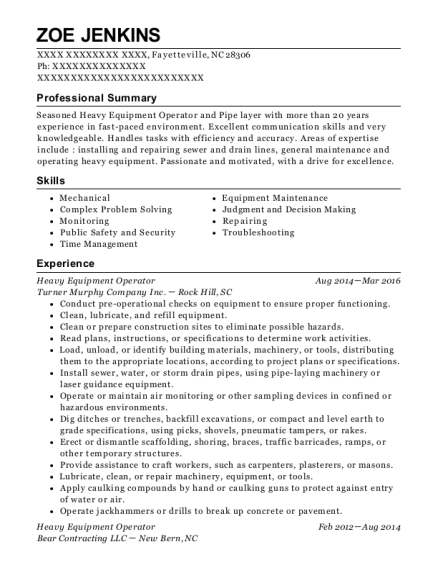 Heavy Equipment Operator resume format North Carolina
