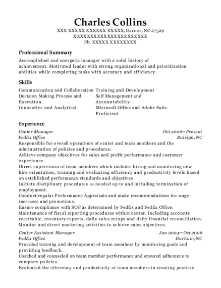 Center Manager resume template North Carolina