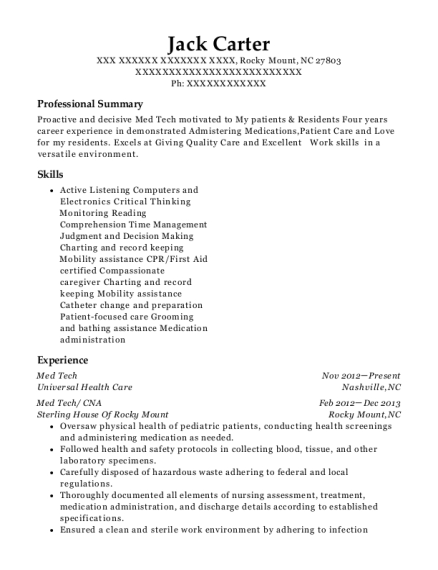 Med Tech resume example North Carolina