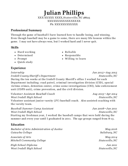 Internship resume template North Carolina
