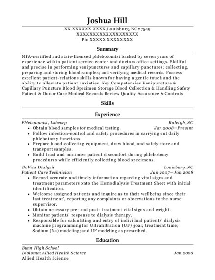 Patient Care Technician resume template North Carolina