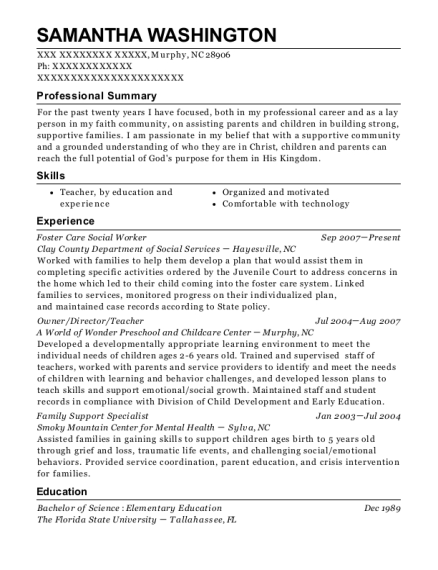 Foster Care Social Worker resume example North Carolina