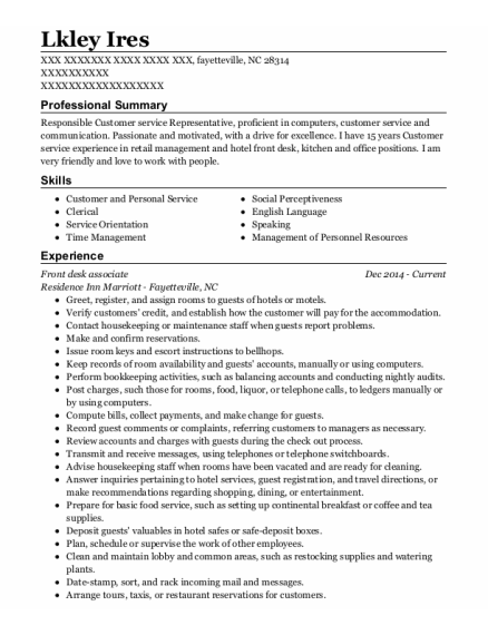 Front Desk Associate resume sample North Carolina