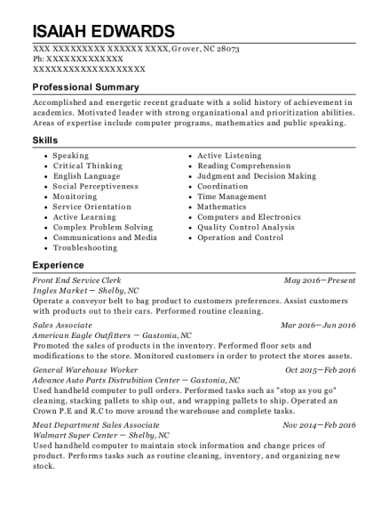 Front End Service Clerk resume format North Carolina