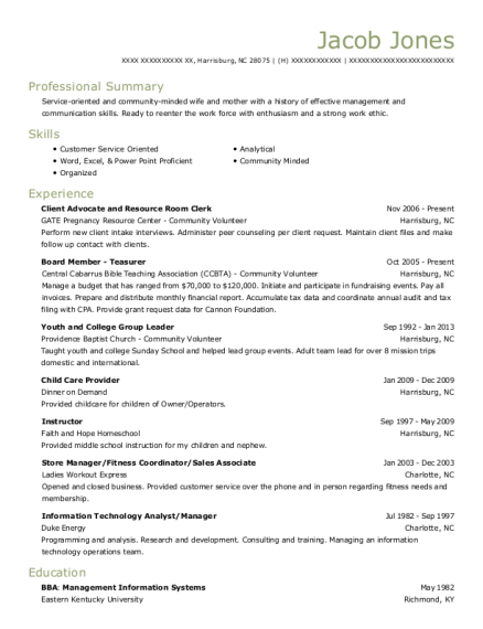 Client Advocate and Resource Room Clerk resume format North Carolina