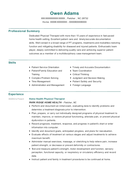 Home Health Physical Therapist resume template North Carolina