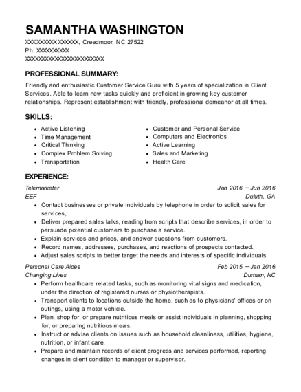 Telemarketer resume sample North Carolina