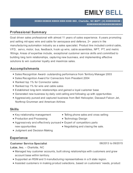 Customer Service Specialist resume format North Carolina