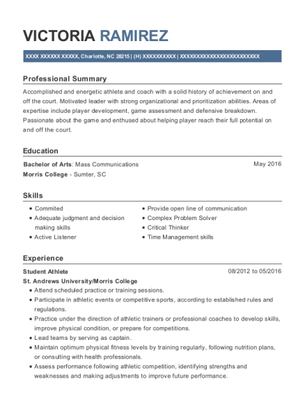 Student Athlete resume template North Carolina