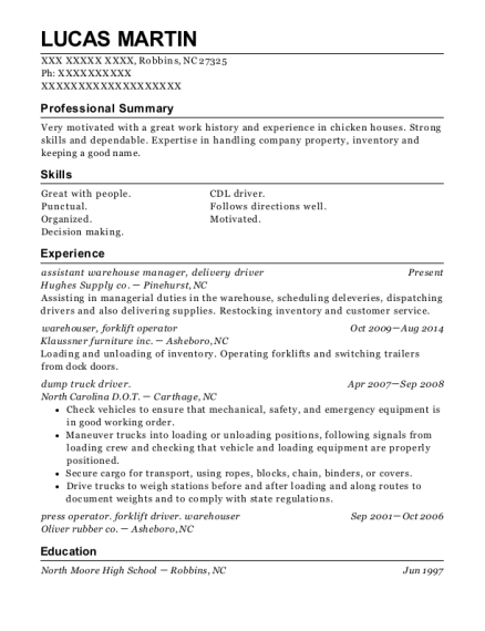 assistant warehouse manager resume format North Carolina