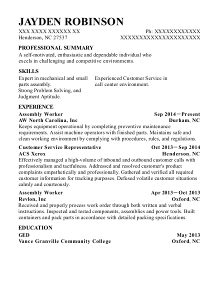 Assembly Worker resume example North Carolina