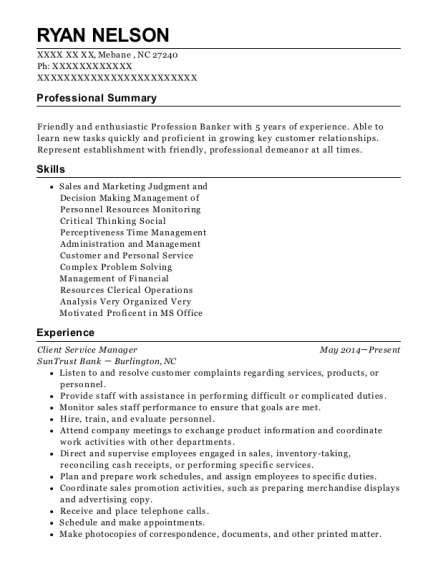 Client Service Manager resume sample North Carolina