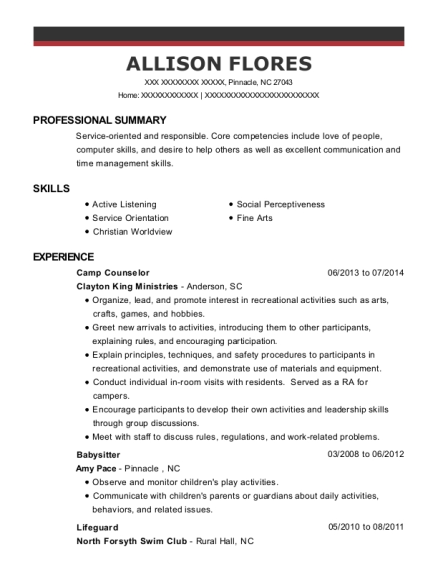 Camp Counselor resume format North Carolina