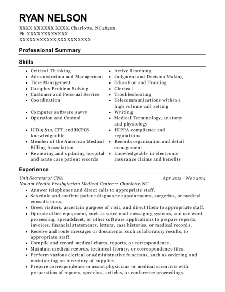 Unit Secretary resume sample North Carolina
