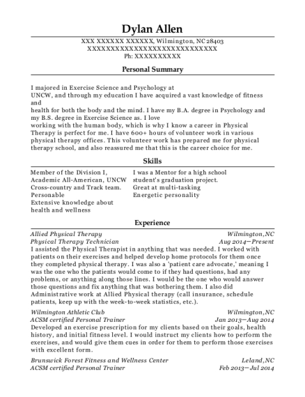 Physical Therapy Technician resume sample North Carolina