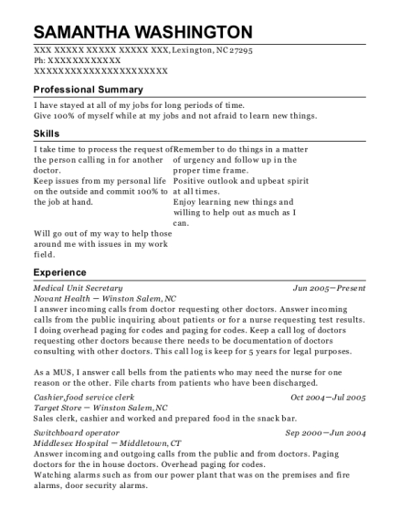 Medical Unit Secretary resume example North Carolina