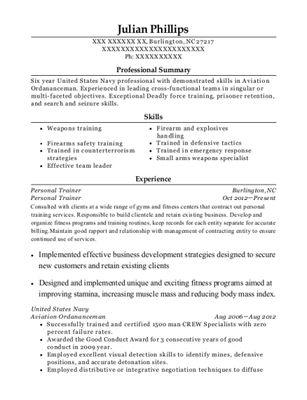 Personal Trainer resume example North Carolina