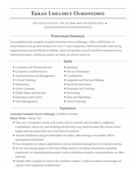 Assistant Customer Service Manager resume format North Carolina