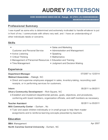 Department Manager resume format North Carolina