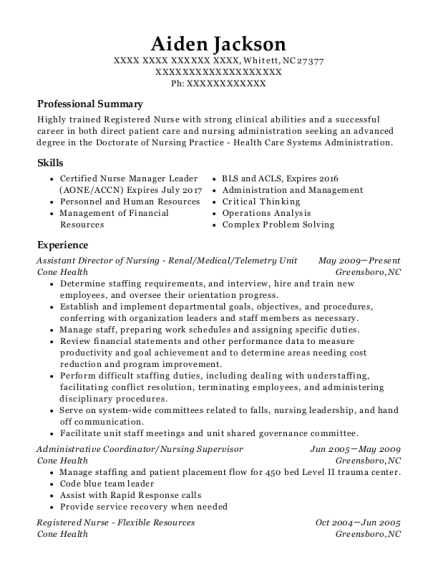 Assistant Director of Nursing Renal resume format North Carolina