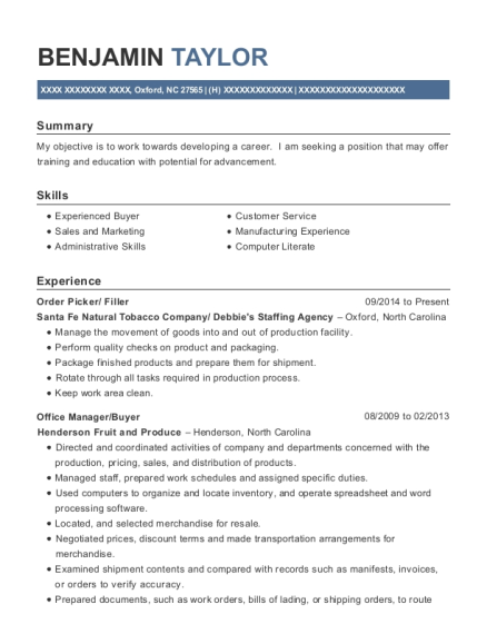 Order Picker resume example North Carolina