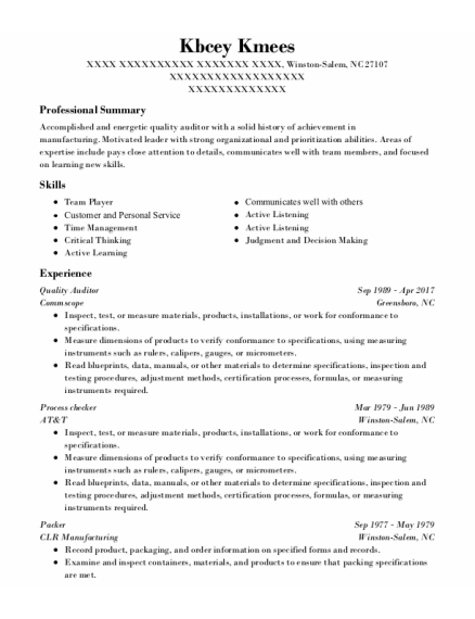 Quality Auditor resume template North Carolina