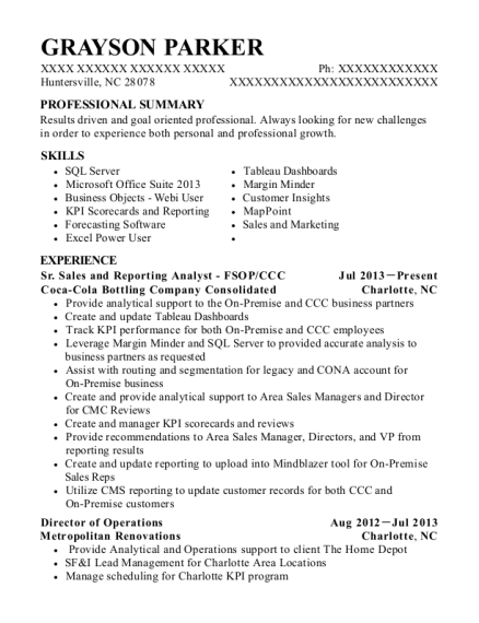 Sr Sales and Reporting Analyst FSOP resume example North Carolina
