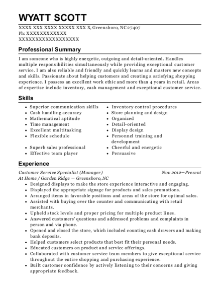 Customer Service Specialist resume sample North Carolina