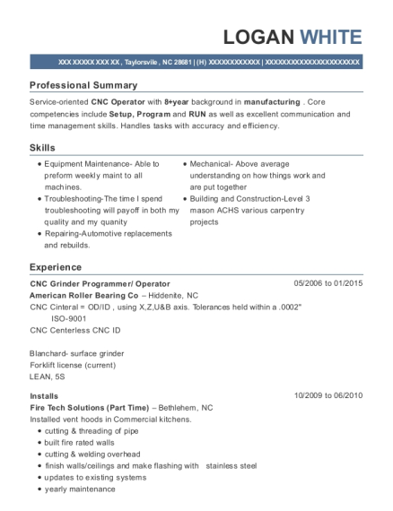 CNC Grinder Programmer resume format North Carolina