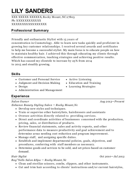 Salon Owner resume format North Carolina