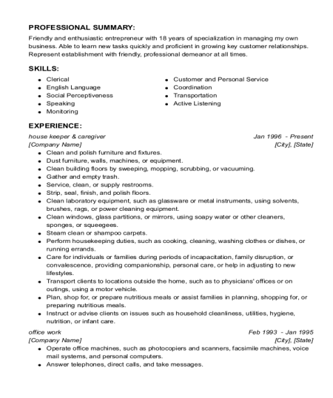house keeper & caregiver resume sample North Carolina