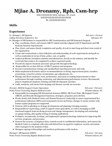Sr Manager New Partner Development resume format North Carolina