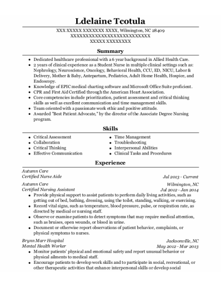 Certified Nurse Aide resume format North Carolina