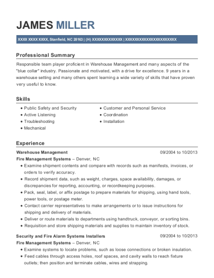 Warehouse Management resume template North Carolina