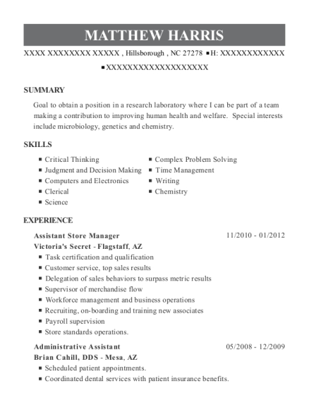 Assistant Store Manager resume template North Carolina