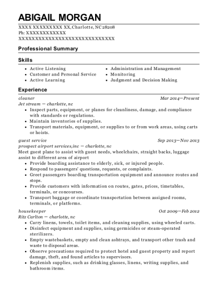 Cleaner resume sample North Carolina